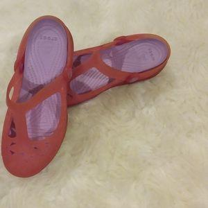 EUC Crocs, Maryjane style. Pink.  Waterproof.